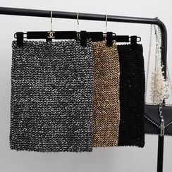 Bamifis - Sequined Mini Pencil Skirt