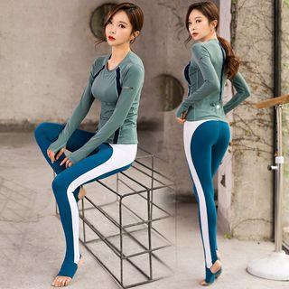 Wontto - 套装: 长袖运动T裇 + 配色边踩脚瑜伽裤