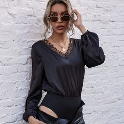 Satinoah - Long-Sleeve V Neck Lace Trim Bodysuit