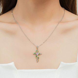 Cheermo - Rhinestone Cross Pendant Necklace
