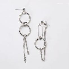 Kokyu - Non-matching Mini Hoop & Chain Dangle Earring