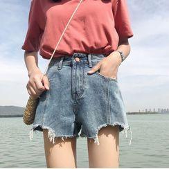 Everose - 寬腿牛仔短褲