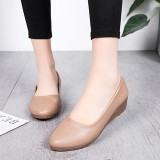 Aneka - Faux Leather Wedge Pumps
