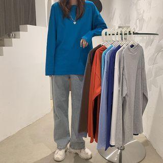 Moon City - Long-Sleeve Plain T-Shirt