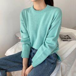 Envy Look - Round-Neck Drop-Soulder Knit Top