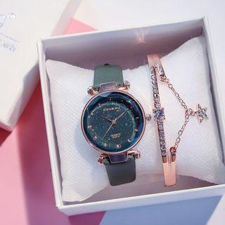 Cimmeria - 套裝: 亮面帶式手錶 + 水鑽手鐲