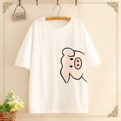 Kawaii Fairyland(カワイイ フェアリーランド) - Elbow-Sleeve Piggy Print T-Shirt