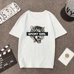 Carmenta(カルメンタ) - Short-Sleeve Tiger Printed T-Shirt