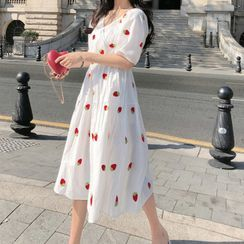 HELLEN - Fruit Embroidered Short-Sleeve Midi A-Line Dress