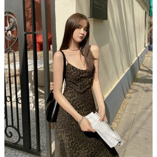 Yuxi - Leopard Print Spaghetti-Strap Mini Sheath Dress / Midi A-Line Dress