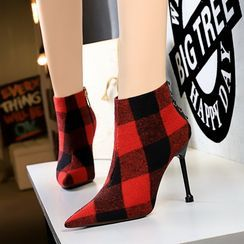 PRIN - Plaid Pointed High Heel Ankle Boots