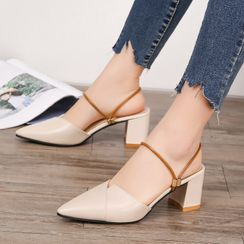 Aneka(アネカ) - Faux Leather Pointed Block Heel Slingback Pumps