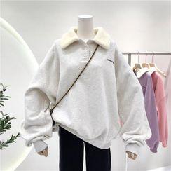 Faybienne - Polo-Neck Letter Embroidered Fleece Sweatshirt