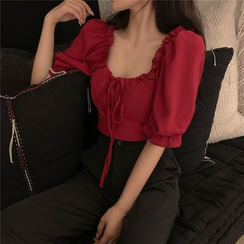 Be Bonita - Square Neck Puff Sleeve Blouse
