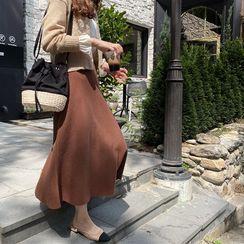 LEELIN - Zip-Side Long Flare Skirt