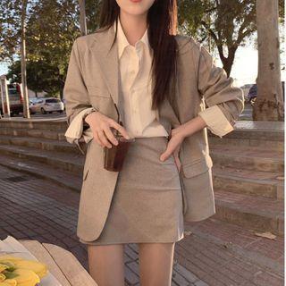 Apotheosis - 套裝: 純色單排扣西裝外套 + 迷你鉛筆裙