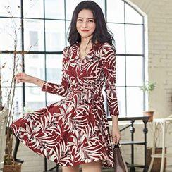 Hasu - Printed Long-Sleeve A-Line Dress