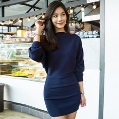 Hasu - Long-Sleeve Min Knit Sheath Dress