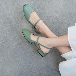 Comof - Square-Toe Low-Heel Slingback Sandals