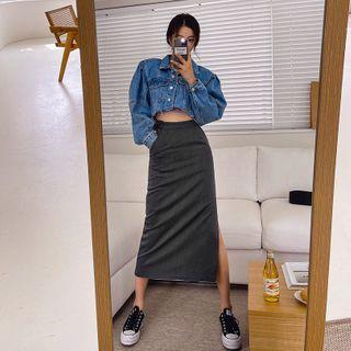 LIPHOP - Pocket-Side Deep-Slit Long Skirt