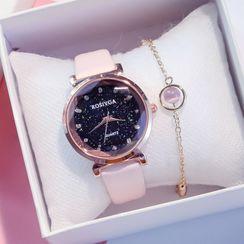 ONAJI - 套裝: 仿皮手錶 + 手鏈