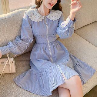 Kimrum - Long-Sleeve Lace Collar Striped Mini Dress