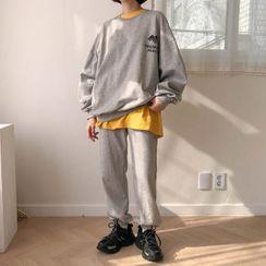 MERONGSHOP - Set: Letter-Printed Sweatshirt + Jogger Pants
