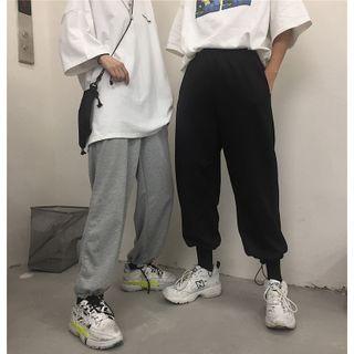 LINSI - 纯色抽绳脚口运动裤