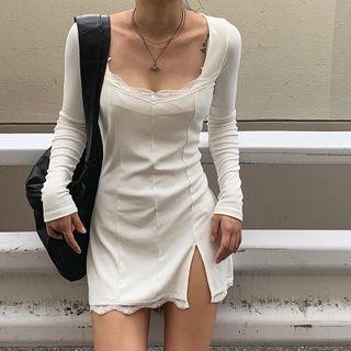 Cincine - Lace Trim Long-Sleeve / Spaghetti Strap Bodycon Dress