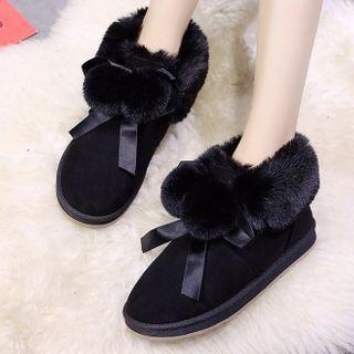 Weiya - Faux Suede Pom Pom Ankle Snow Boots