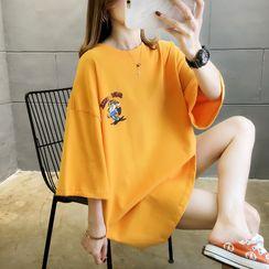 Jewie - Elbow-Sleeve Tiger Print Tunic T-Shirt