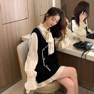 Paila - Mock Two-Piece Long-Sleeve Shift Mini Dress