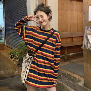 Miss Bearie(ミスベアリー) - Long-Sleeve Striped T-Shirt