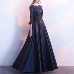 Remme - 3/4-Sleeve Sequined Gown