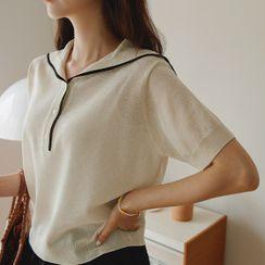 JUSTONE(ジャストワン) - Sailor-Collar Piped Knit Top