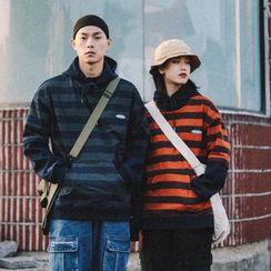Zyacu - Couple Matching Mock Two-Piece Striped Hoodie