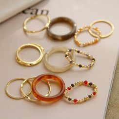 Yoonah - Set of 4: Alloy / Faux Crystal / Resin Ring (assorted designs)