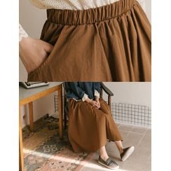 GOROKE - Band-Waist Long Flare Skirt
