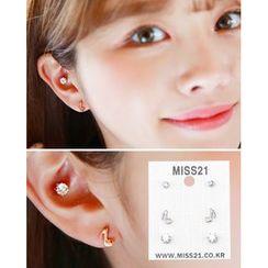 Miss21 Korea - Music Note / Rhinestone Stud Earring Set (6 PCS)