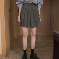 Windcatcher - 高腰純色打褶襉裙