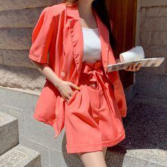 DEEPNY - Set: Short-Sleeve Blazer + Paperbag-Waist Shorts
