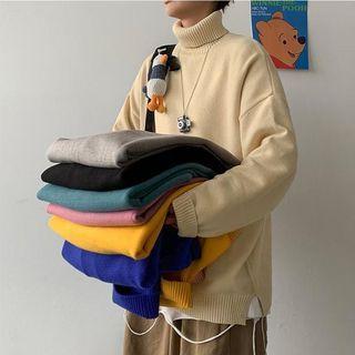 VEAZ - Turtleneck Plain Knit Top