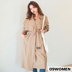 Seoul Fashion - TALL SIZE Belted Single-Breasted Trench Coat