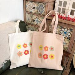 Milha - Flower Print  Canvas Tote Bag
