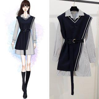 tinselcherry - Set: Long-Sleeve Striped Mini Shirtdress + Asymmetrical Vest