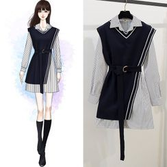 tinselcherry - 套装: 长袖条纹迷你衬衫连衣裙 + 不对称马甲