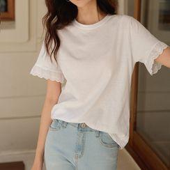 JUSTONE - Lace-Cuff Cotton T-Shirt