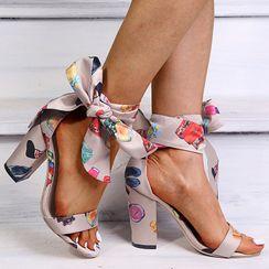 Shoeland(シューランド) - Ankle-Tie Chunky-Heel Sandals