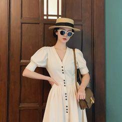 Apotheosis - Balloon-Sleeve Button-Up Midi A-Line Dress
