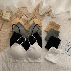 Sisyphi - Spaghetti Strap Bralette / Panties / Set